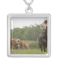 Mike Campbell returning with cows, Seadrift, Silver Plated Necklace