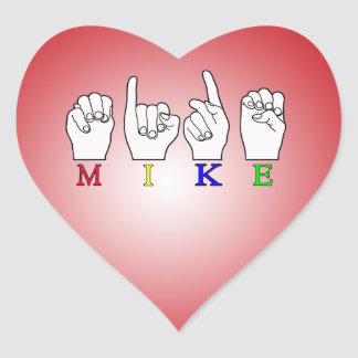 MIKE FINGERSPELLED NAME ASL HEART STICKER