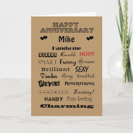 Mike Happy Anniversary Words of Praise Card | Zazzle.com