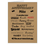 Mike Happy Anniversary Words of Praise Card