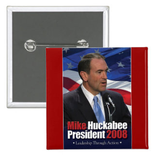 Mike Huckabee and Old Glory 2 Inch Square Button