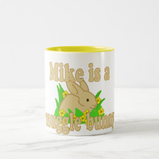 Mike is a Snuggle Bunny Two-Tone Coffee Mug