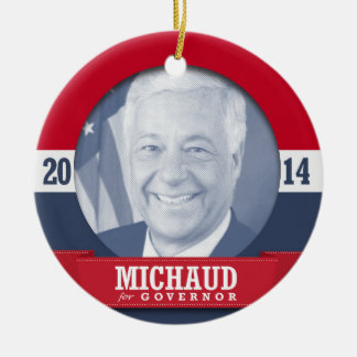 MIKE MICHAUD CAMPAIGN Double-Sided CERAMIC ROUND CHRISTMAS ORNAMENT
