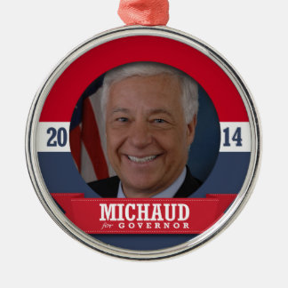 MIKE MICHAUD CAMPAIGN ROUND METAL CHRISTMAS ORNAMENT
