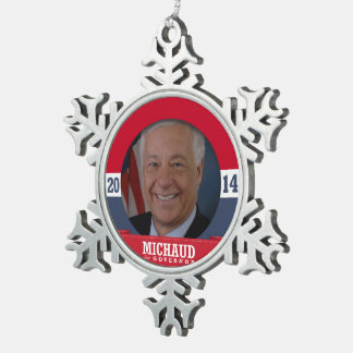 MIKE MICHAUD CAMPAIGN SNOWFLAKE PEWTER CHRISTMAS ORNAMENT
