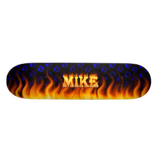 Mike skateboard fire and flames design.