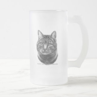 Mike, Tiger Cat Frosted Glass Beer Mug