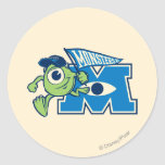 Mike with Monsters U Flag Classic Round Sticker
