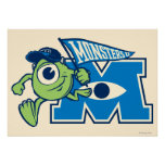 Mike with Monsters U Flag Poster