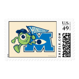 Mike with Monsters U Flag Stamp