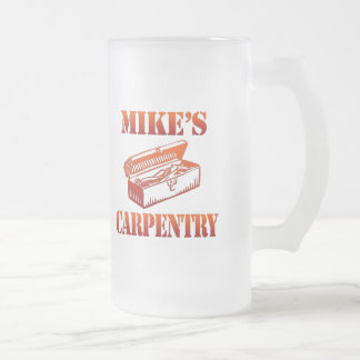 Mike's Carpentry Frosted Glass Beer Mug