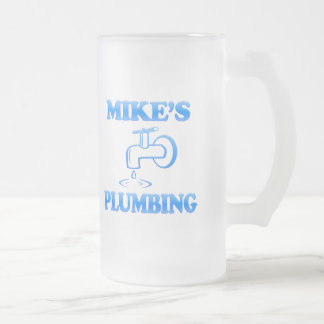Mike's Plumbing Frosted Glass Beer Mug