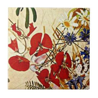 Mikhail Vrubel art: Field Flowers Ceramic Tile