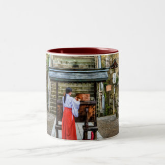 Miko Collecting Shrine Money Two-Tone Coffee Mug