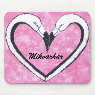 Mikvarhar  Flamingo kiss pink heart Mouse Pad