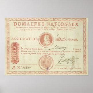 Mil billetes de banco del livre con Louis XVI Póster