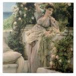 """""""Mil subió de todos los rosas, 1885 (el aceite en  Azulejo Cuadrado Grande"""
