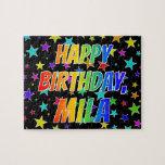 "[ Thumbnail: ""Mila"" First Name, Fun ""Happy Birthday"" Jigsaw Puzzle ]"