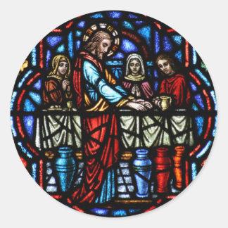 Milagro de Jesús en arte del vitral de Cana Etiqueta