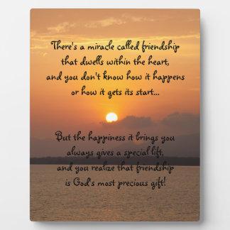 Milagro de la placa del poema de la amistad