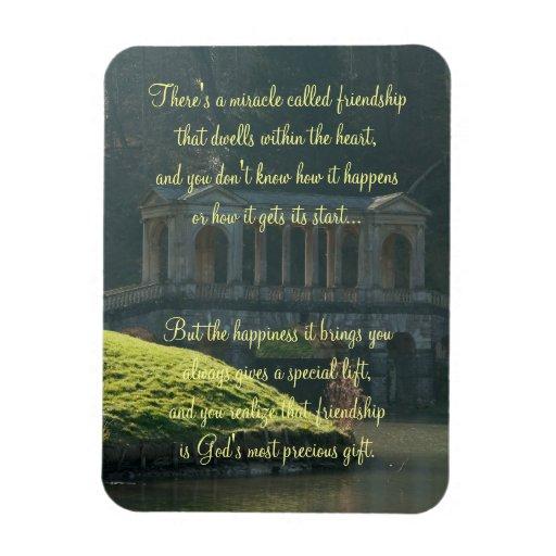 Milagro de la placa del poema de la amistad imanes de vinilo