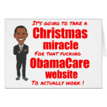 Milagro del navidad del Web site de ObamaCare Felicitación