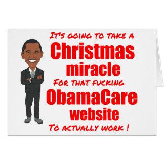 Milagro del navidad del Web site de ObamaCare Tarjeta De Felicitación