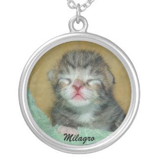 Milagro, the miracle kitten round pendant necklace