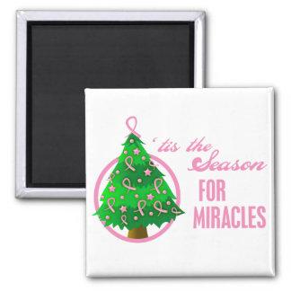Milagros del navidad del cáncer de pecho imán cuadrado