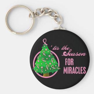 Milagros del navidad del cáncer de pecho llavero redondo tipo pin