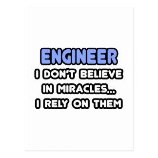 Milagros e ingenieros tarjeta postal