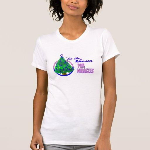 Milagros masculinos del navidad del cáncer de pech camisetas