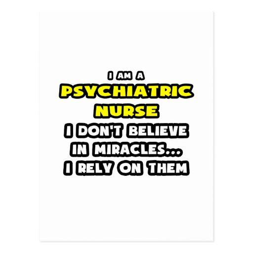 Milagros y enfermeras psiquiátricas… divertidos postal