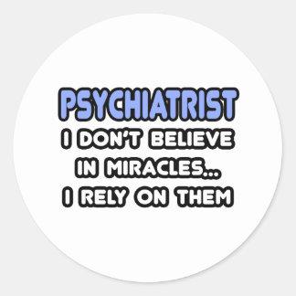 Milagros y psiquiatras etiquetas redondas