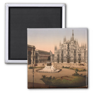Milan Cathedral and Piazza, Lombardy, Italy 2 Inch Square Magnet