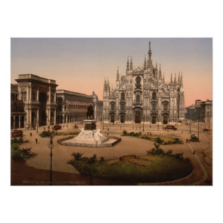 Milan Cathedral and Piazza Lombardy Italy Posters