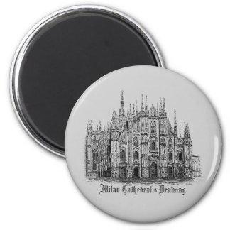 Milan Cathedral Drawing Round Refrigerator Magnet