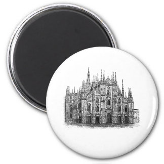 Milan Cathedral pen and ink Drawing button 2 Inch Round Magnet
