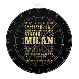 Milan City of Italy Typography Art Dartboard With Darts