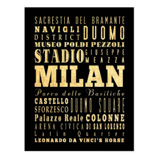 Milan City of Italy Typography Art Postcard