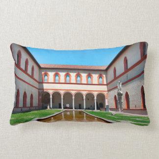 milan italy pool Sforza Castle Courtyard landmark Lumbar Pillow