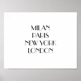 Milan, Paris, New York, London print