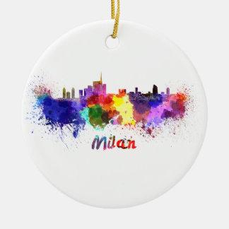 Milan skyline in watercolor ceramic ornament