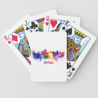 Milan skyline in watercolor bicycle playing cards