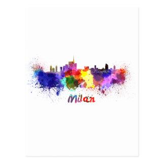 Milan skyline in watercolor postal