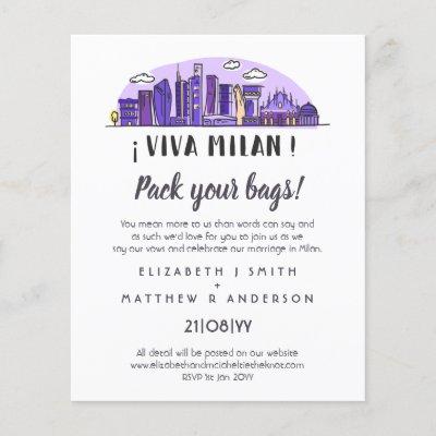 MILAN Skyline Wedding Handdrawn Invitation Budget