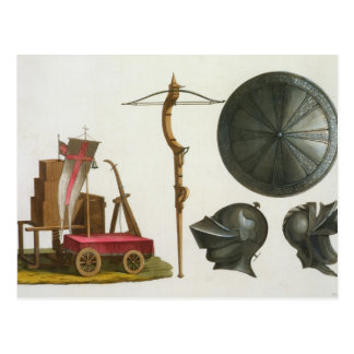 Milanese chariot, crossbow and armour, plate 17 fr postcard