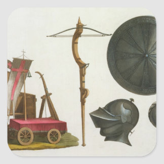 Milanese chariot, crossbow and armour, plate 17 fr square sticker