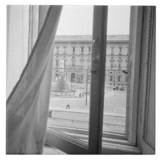 Milano Italia, visión desde la ventana de la ópera Azulejo Cuadrado Grande