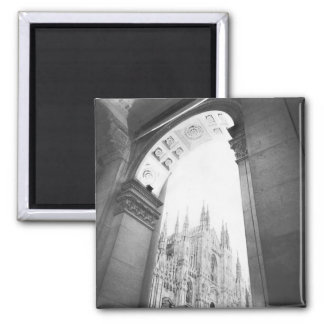 Milano Italy, Galleria View of the Duomo 2 Inch Square Magnet